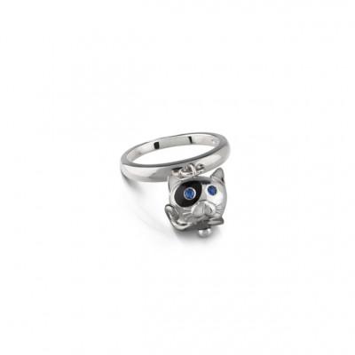 Anello campanella gatto in argento, smalto nero, zaffiri blu