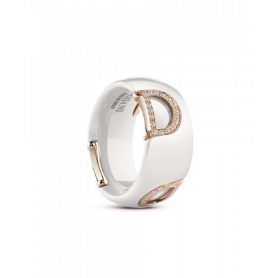 Anello in ceramica bianca, oro e diamanti