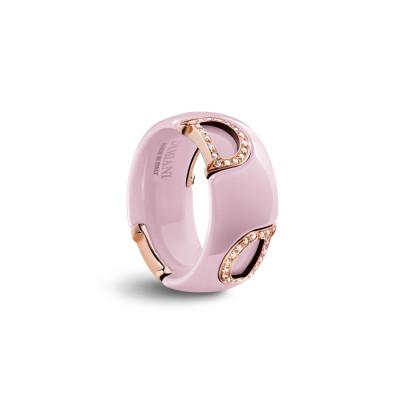 Anello in ceramica rosa, oro e diamanti