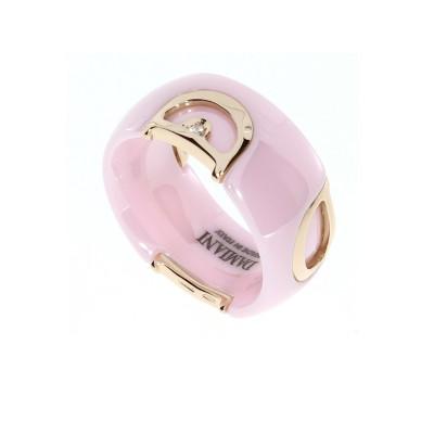 Anello in ceramica rosa, oro e diamante