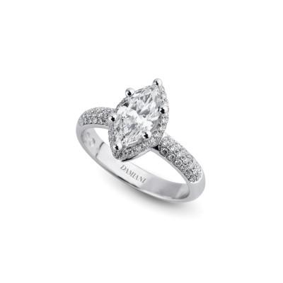 Anello di fidanzamento in oro bianco con diamante taglio Marquise