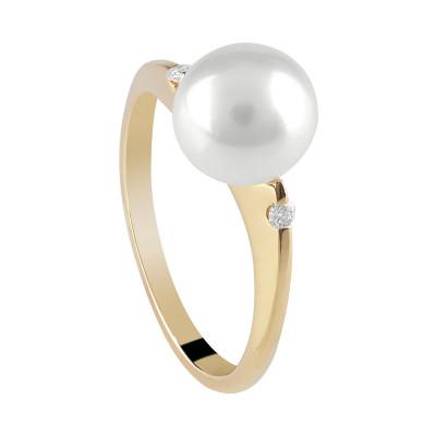 Anello in oro giallo con diamanti e perla freshwater