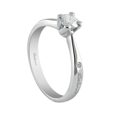 Anello Virginia solitario oro bianco e diamante ct. 0.13 G SI