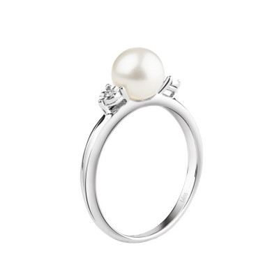 Anello Rugiada Perla e Diamanti