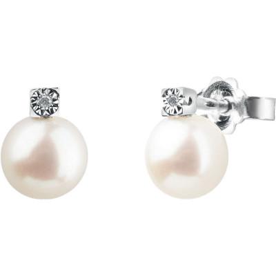 Orecchini Rugiada in Oro Bianco Diamanti e Perle
