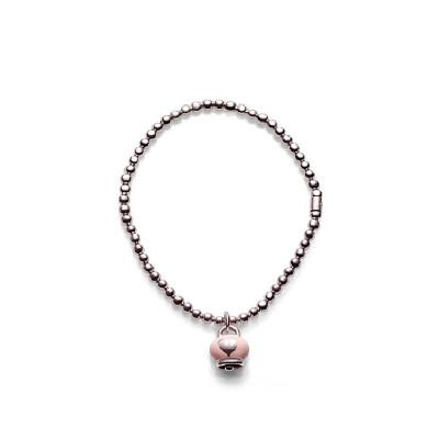Bracciale elastico con ciondolo Campanella in smalto rosa