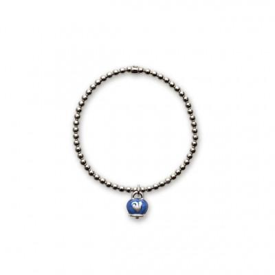 Bracciale elastico con ciondolo Campanella in smalto blu