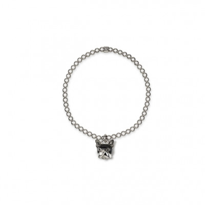 Bracciale cane micro in argento, smalto nero e spinello nero