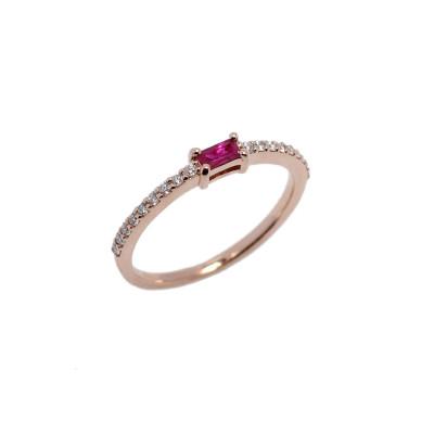 Anello B-Square Diamanti e Rubino
