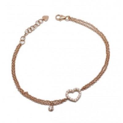 Bracciale Cuore Profilo oro rosa e diamanti