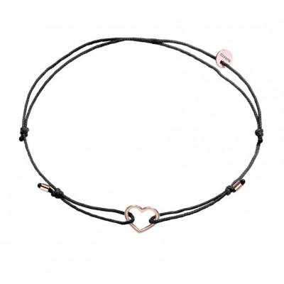 Bracciale Black Ribbon Cuore