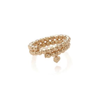 Anello porta ciondoli in oro rosa 9Kt, con pendente micro galletto