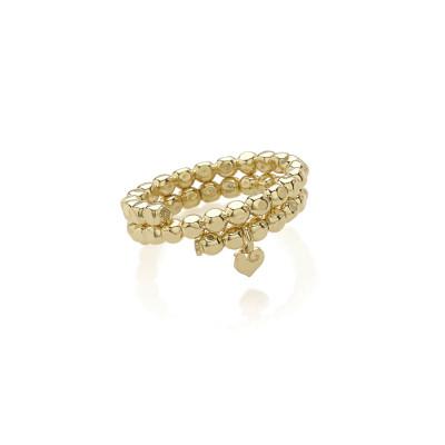 Anello porta ciondoli in oro giallo 9Kt, con pendente micro galletto