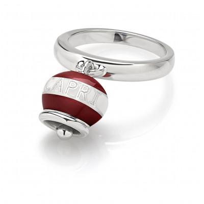 Anello Capriness campanella in argento e smalto bianco rosso