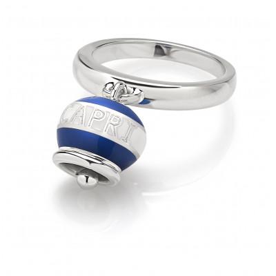 Anello Capriness campanella in argento e smalto bianco blu