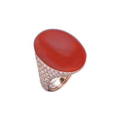 Anello Cherie Corallo rosso e diamanti