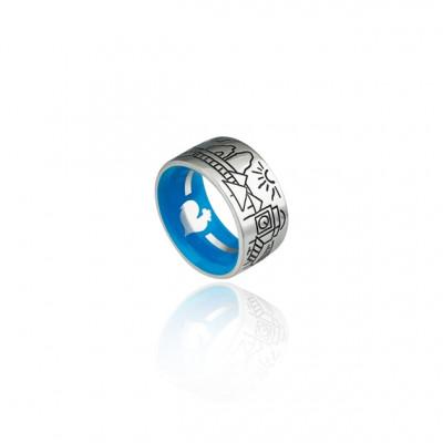 Anello fascia Skyline Capri argento e smalto blu interno