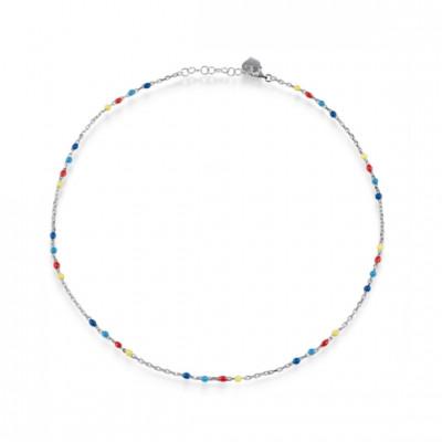 Collana Capriness 42 cm in argento e smalto giallo, rosso, azzurro e blu