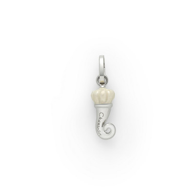 Ciondolo Corno mini argento e smalto bianco perlato