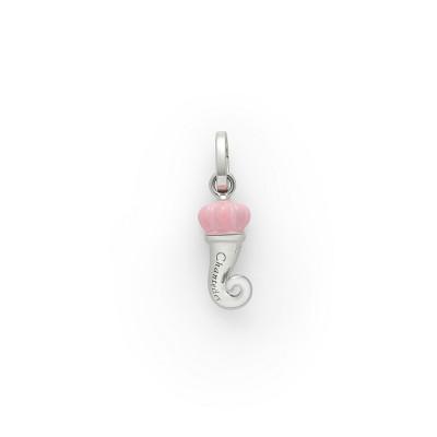 Ciondolo Corno mini argento e smalto rosa