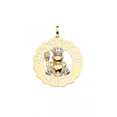 Ciondolo medio Principe Ranocchio oro giallo, bianco e diamanti