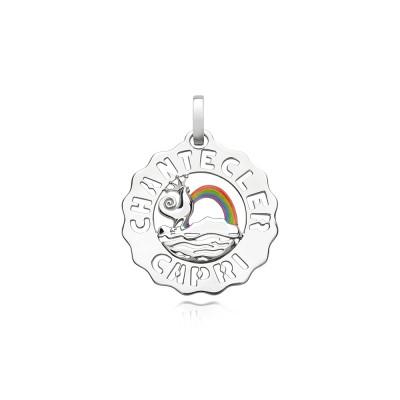 Ciondolo piccolo Gallo e Arcobaleno argento e smalti colorati
