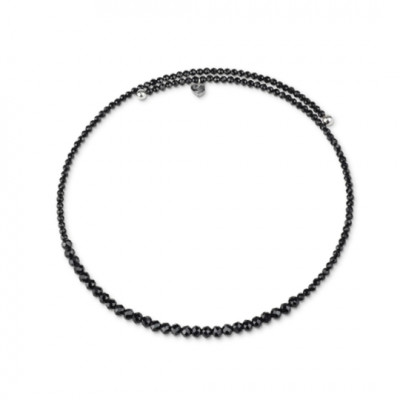 Collana in spinello nero e argento
