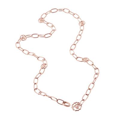Collana in oro rosa 9kt con maglie ovali e logo