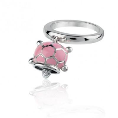 Anello tartaruga micro in argento, smalto rosa e diamante bianco