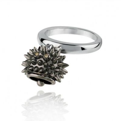 Anello riccio micro in argento brunito e diamanti brown