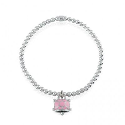 Bracciale elastico con ciondolo tartaruga micro in argento, smalto rosa e diamante bianco