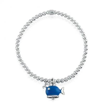 Bracciale elastico con ciondolo balena micro in argento, smalto blu e diamante bianco