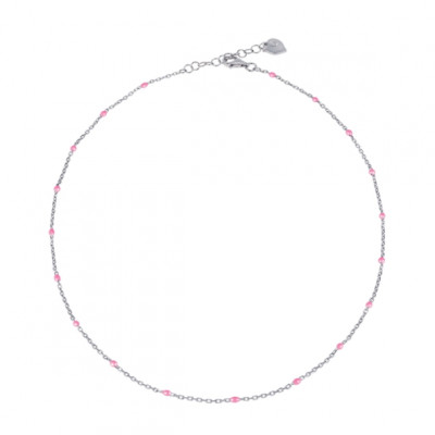 Catena 42 cm in argento e smalto rosa