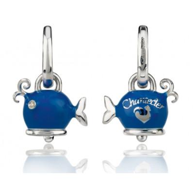 Orecchini balena micro in argento, smalto blue e diamanti bianchi
