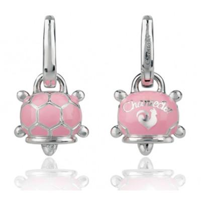 Orecchini tartaruga micro in argento, smalto rosa e diamante bianco