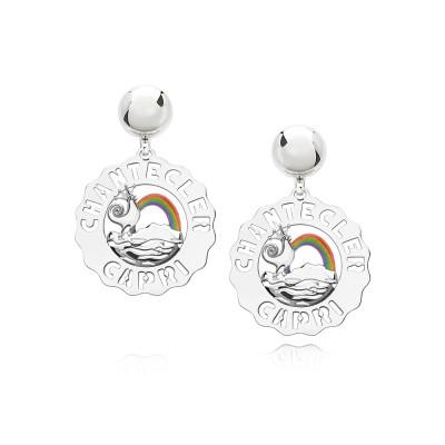 Monorecchino piccolo Gallo e Arcobaleno argento e smalti colorati