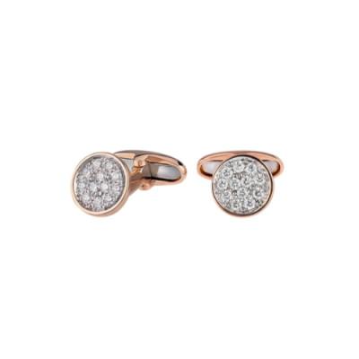 Gemelli Paillettes in oro rosa 18Kt e diamanti