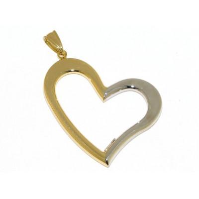 Ciondolo cuore in oro giallo e oro bianco