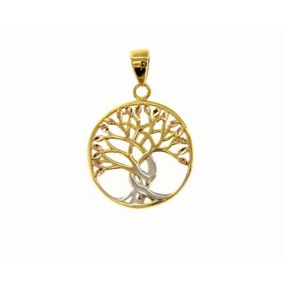 Ciondolo albero della vita in oro giallo e bianco