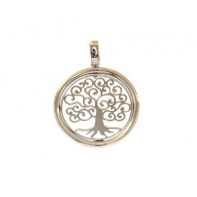 Ciondolo cerchio con albero della vita in oro bianco