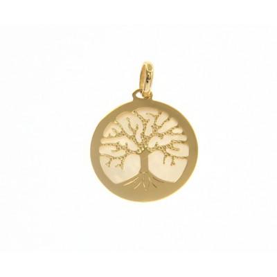 Ciondolo albero della vita in oro giallo e madreperla