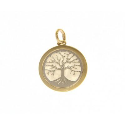Ciondolo albero della vita in oro giallo e bianco e madreperla