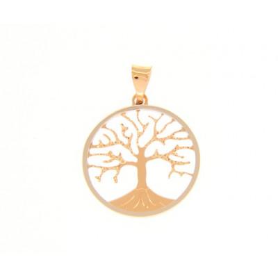 Ciondolo albero della vita in oro rosso e bianco