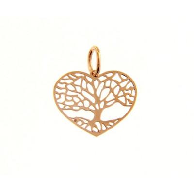 Ciondolo cuore con albero della vita in oro rosso