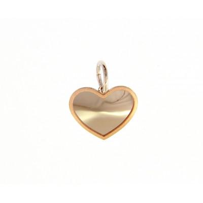 Ciondolo cuore in oro rosso e oro bianco