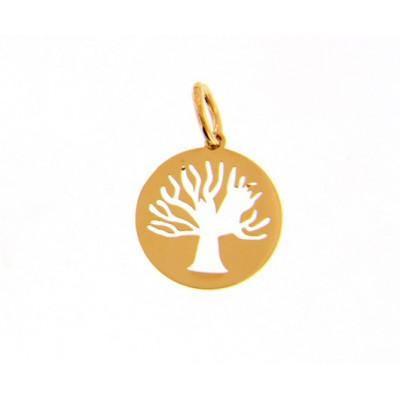 Ciondolo cerchio con albero della vita in oro giallo