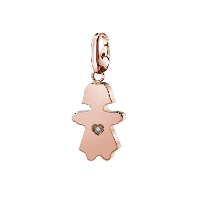 Ciondolo in argento rosa con diamante