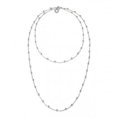 Catena pallinata in argento con logo pendente cm 90