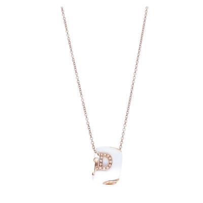 Collana in ceramica bianca, oro e diamanti