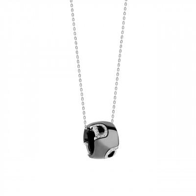 Collana in ceramica nera, oro e diamanti